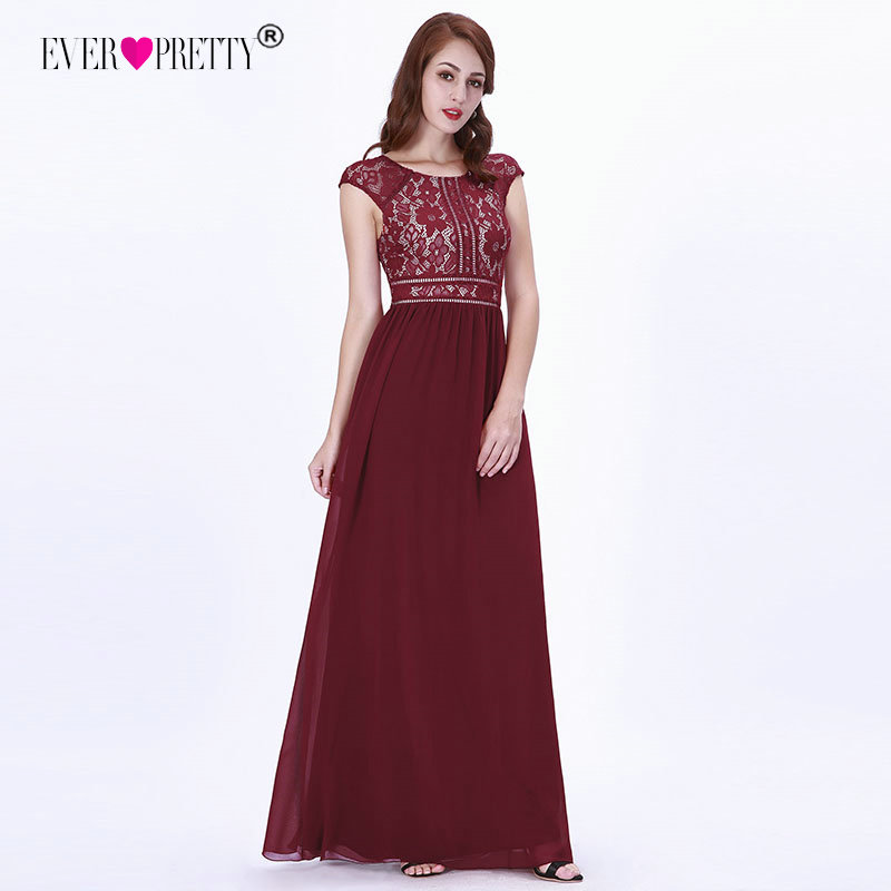 Elegant   Prom     Dresses   Ever Pretty Burgundy A-line Chiffon Sleeveless Lace O-neck 2018 Women Formal Party Gowns for Wedding