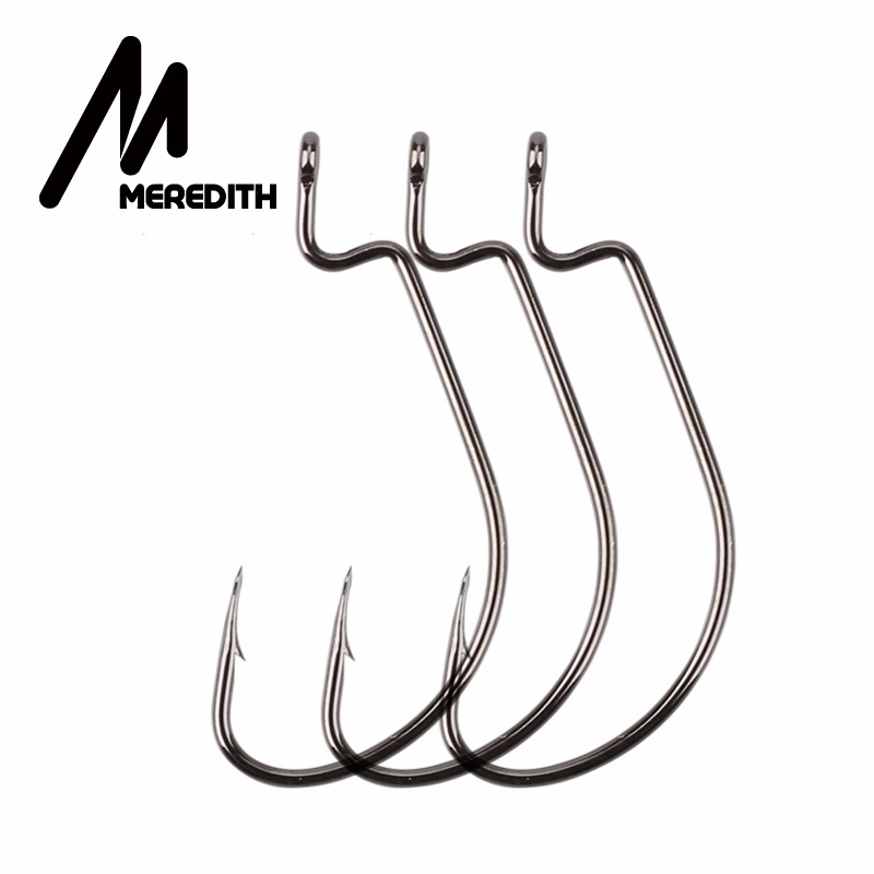 MEREDITH 50pcs/lot Fishing Soft Worm Hooks High Carbon Steel Wide Super Lock Fishhooks Lure Softjerk Hooks 8#-5/0 Fishing Tackle(China)