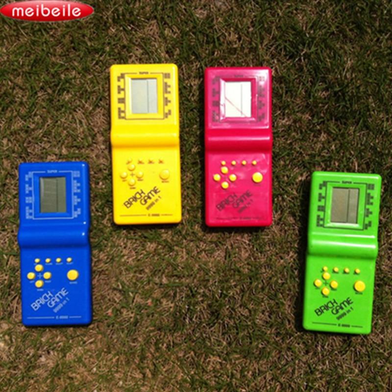 Classic Tetris Game Machine Handheld Game Machine Fun Tetris Brick Game Educational Toys Random Color cut out striped swimsuit