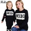 Suéter que hace punto para niños bebés niñas niño de punto hola letra impresa suéteres de invierno juego infantil kids family clothing