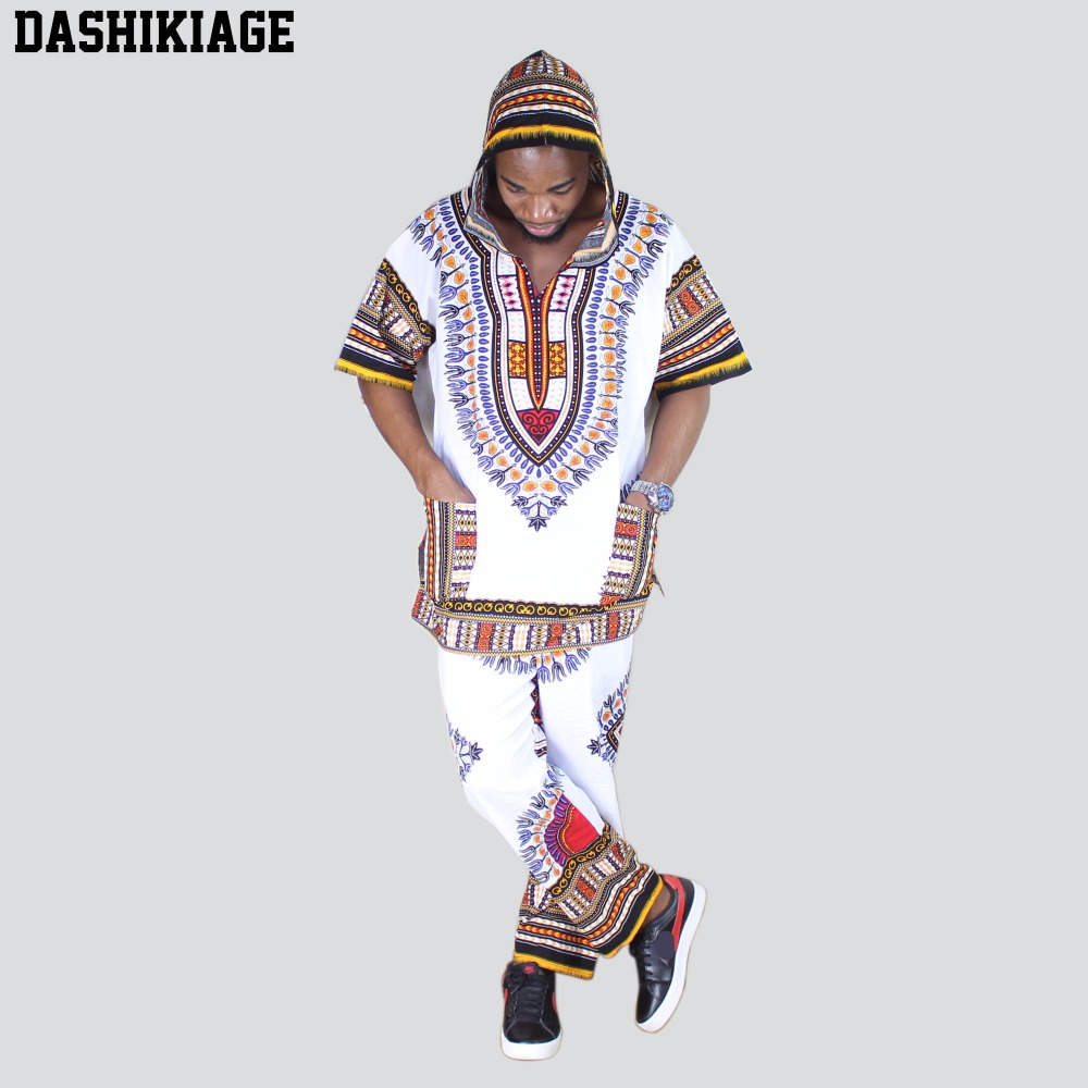 Unisex White Dashiki Set Top Hippie Blouse Hoodies And Pants Set With Pockets