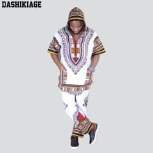 Unisex White Dashiki Set Top Hippie Blouse Hoodies and Pants Set with Pockets kids gingham blouse with pants
