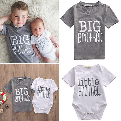 2017 Matching Outfits New Hot  Fashion White Little Brother Baby Boy Romper Bodysuit Gray  Big Boy T-shirt Tee