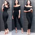 Fashion rompers womens jumpsuit 2016 new autumn sexy black red wine blue short sleeve Strapless backless skinny bodycon jumpsuit