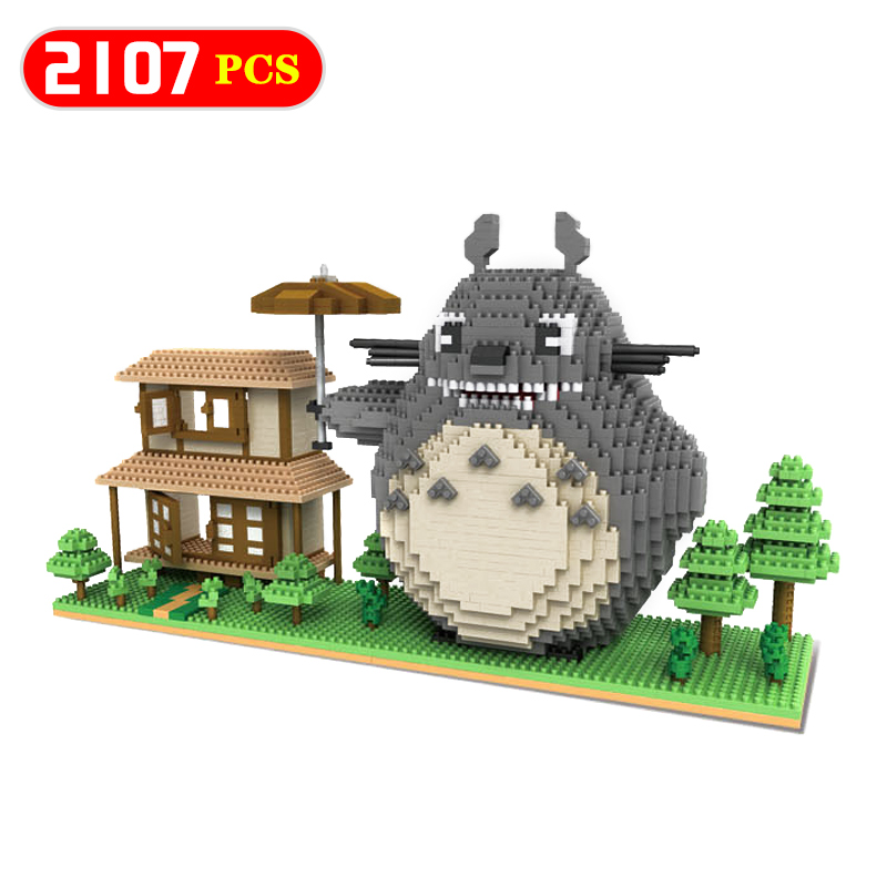 Large Block Totoro Model Anime Blocks Compatible LegoINGLYS Animal Kids Plastic 3D DIY Educational Toys For Childrer Gift children large plastic 3d butterfly dragonfly beetle insect model interesting science activity toys