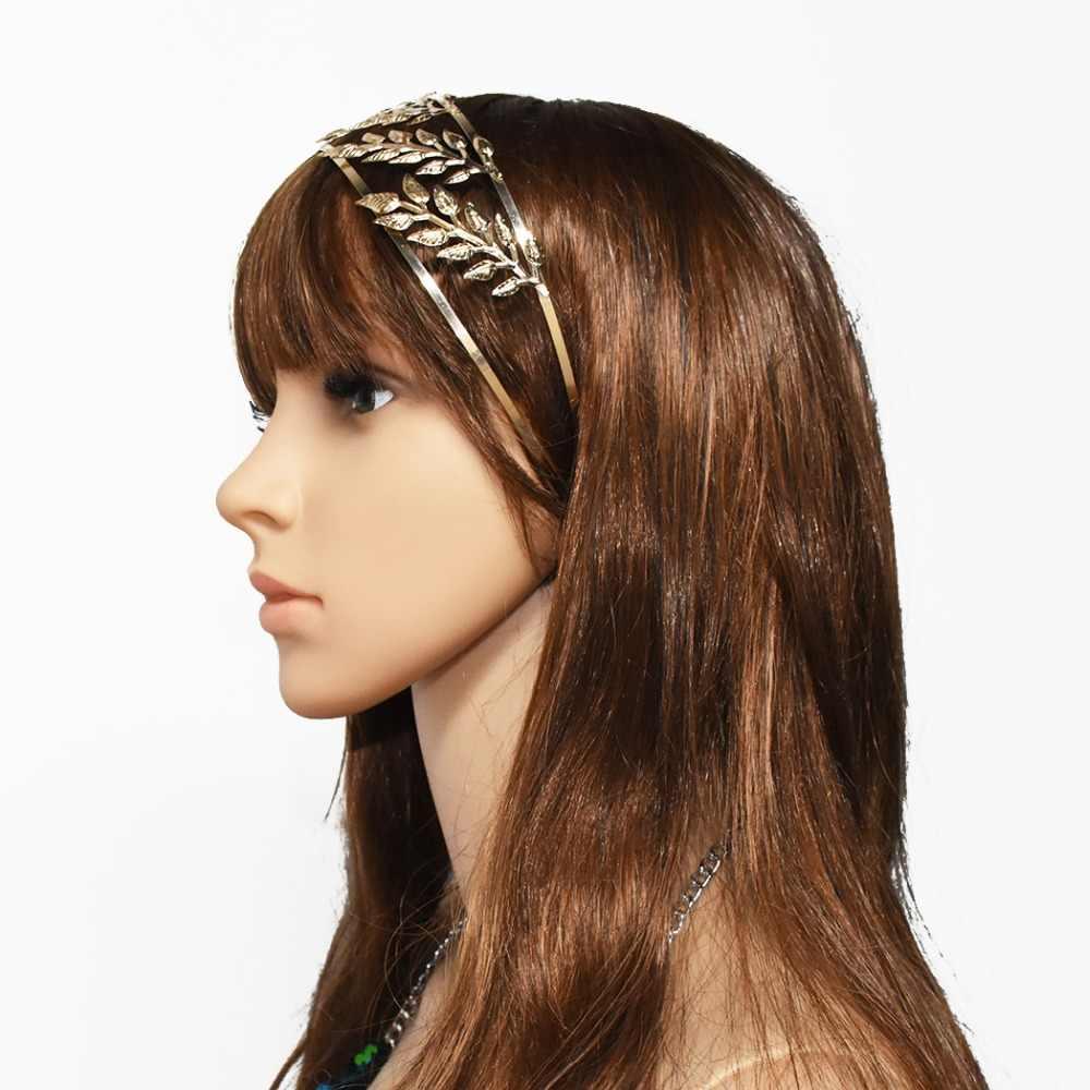 Diadema de oro para mujer, joyería de cabeza de oro, diosa de la hoja, Tiara, boda, diadema para dama de honor, Frente, accesorios para el cabello nupcial