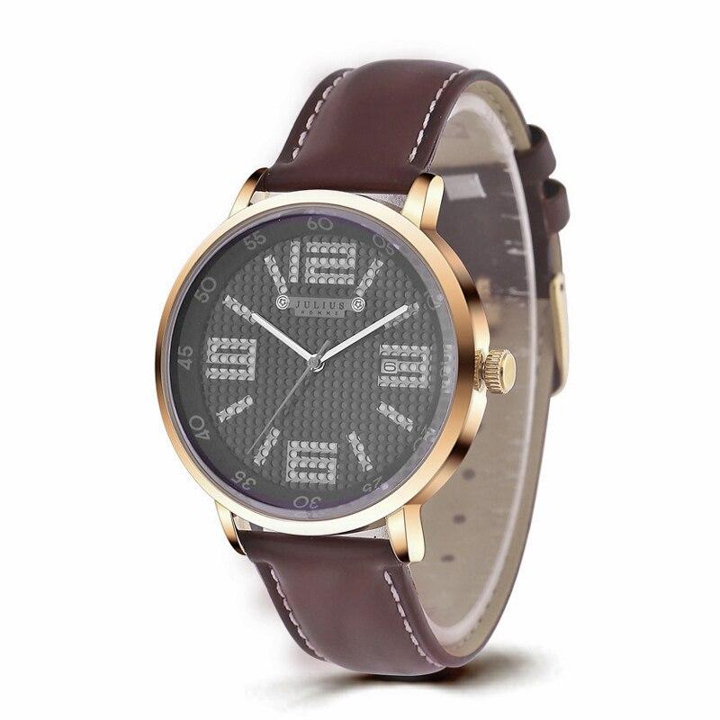 2015 Julius Men s Homme Wrist Watch Quartz Hours Top Fashion Retro Sport Dress Leather Boy