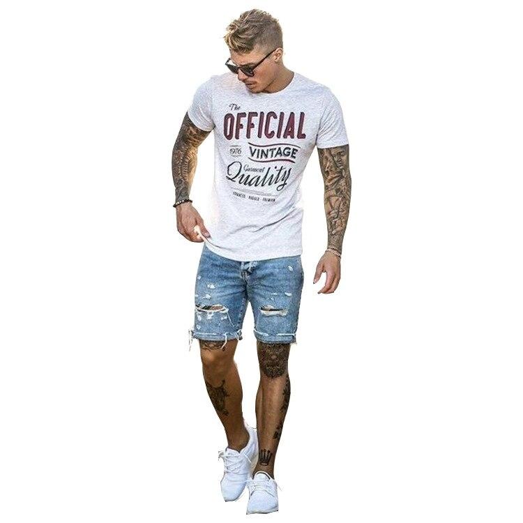 2019 Europese En Amerikaanse Stijl Mannen Denim Straight Casual Persoonlijkheid Mode Slanke Dragen Gewassen Shorts Vijf Heren Jeans Bright Luster