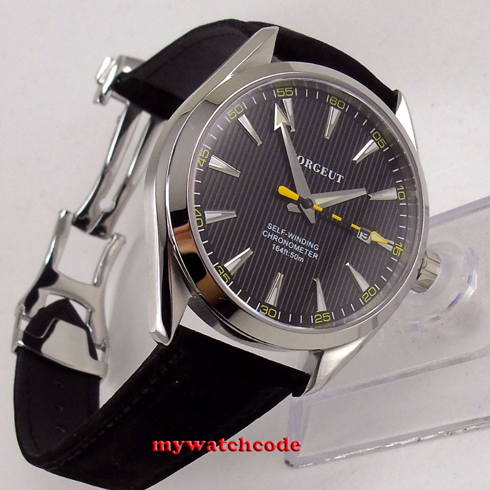 Polished 39mm corgeut black dial Sapphire Glass miyota 821A automatic mens Watch C131 цена и фото