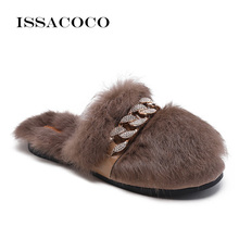 ISSACOCO Womens Slippers Flat Warm Rabbit Fur Home Women Non-slip Slides Furry Pantuflas