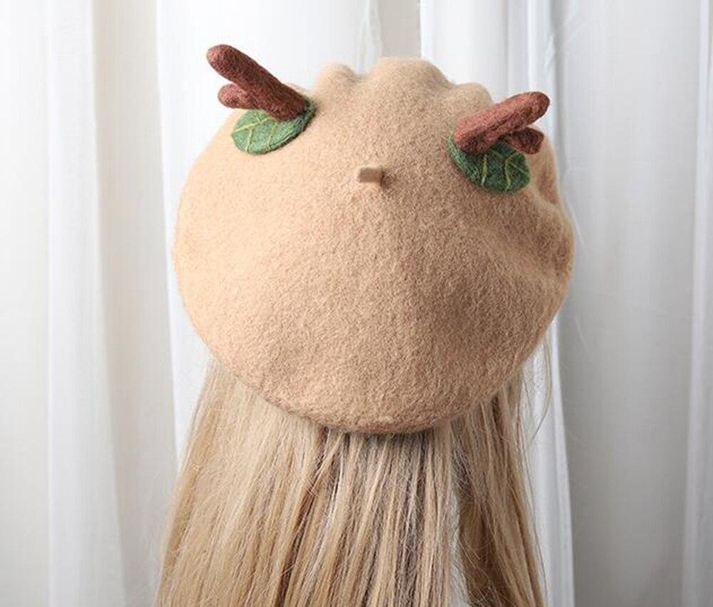 Women Lolita Beret Wool Blend Christmas Elk Horn Decoration Top Hat Cape