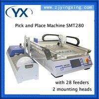 Машина для сборки печатных плат SMT280 чип SMT монтажный для светодиодных ламп 0402,0603, BGA с 28 Кормушками + 2 головки + сопло JUKI