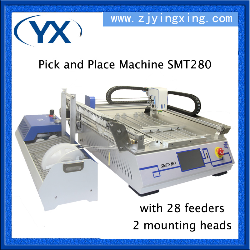 PCB Assembly Machine SMT280 SMT Chip Mounter For Led Lamps 0402,0603,BGA With 28 Feeders+2 Heads+JUKI Nozzle  цены