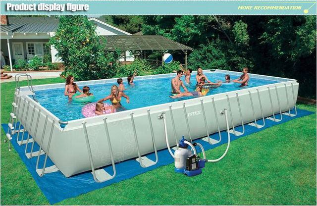 Free Shipping High Quality Intex 54986 Large Swimming Pool Rectangular Frame Pool Family
