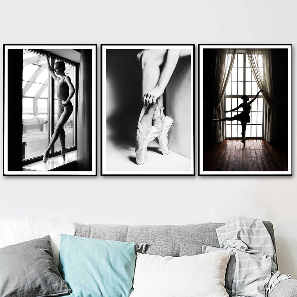 Black And White Elegant Ballet Dance Poster Prints Photo Nordic Style Girl Portrait Pictures Wall Art Home Decor Canvas Painting