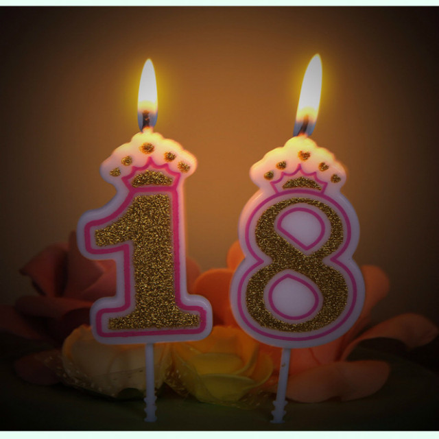 Birthday Number Candle Gold Silver Cartoon Crown Cake Cupcake Topper Party Decoration Supply