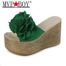 Mvp Boy Women Fashion Flower Summer Slippers Wedges Flip Flops Platform Shoes zapatillas chinelo Eu Size 34-40 Beige Black Green