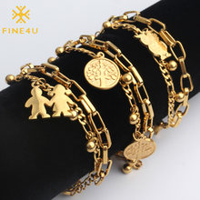 FINE4U B125 Stainless Steel Tree Owl Boy and Girl Charm Bracelet Double Layer Gold Figaro Chain Bracelets For Men Women(China)