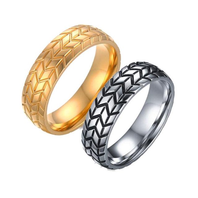 2017 hot sale 6mm stainless steel tire grooved ring men jewelry rock silver gold color punk - Tire Wedding Rings