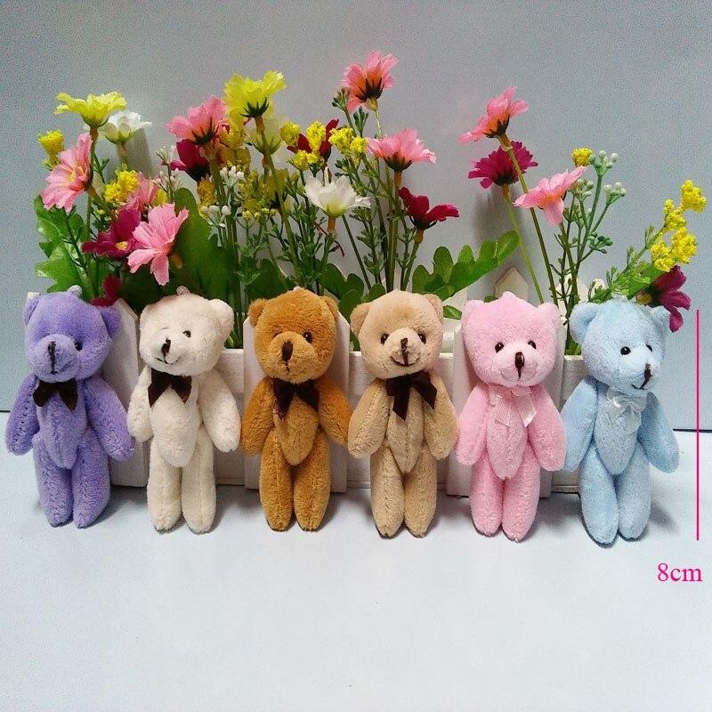 60pcs lot 6 Colors To Choose 8cm Cartoon Joint Bow Tactic Bear Plush Pendants Toys Dolls