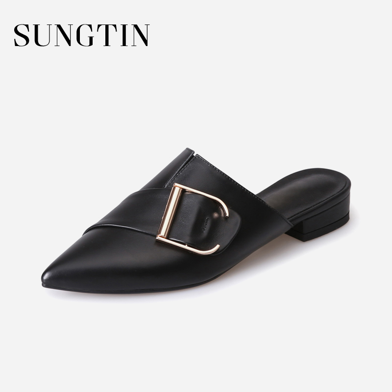 Sungtin High Quality Cow Leather Slippers Women Casual Flat Shoes Sexy Pointed Toe Slip-On Slippers Summer Slides Female Mules women sexy high heel mules clogs pointed toe platform ladies leather sole slippers female slip on sandal shoes