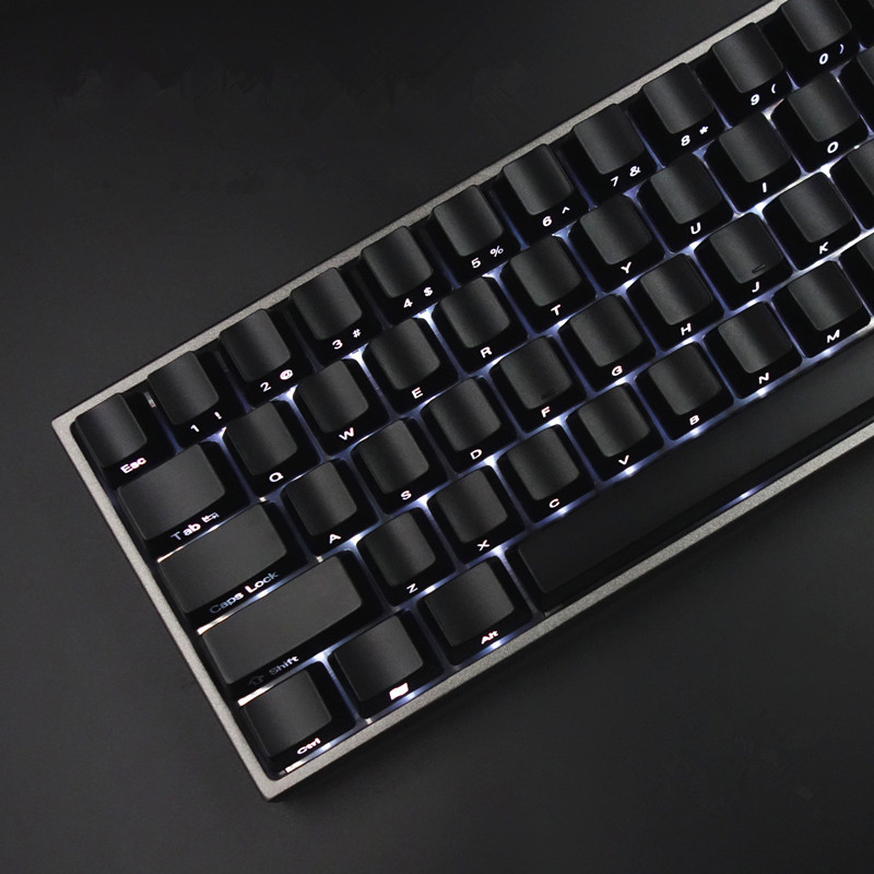 Keycaps Set Front/Side Print Backlit Cherry MX Keycaps With Keycap Puller For Tenkeyless 87/104 Mechanical Gaming Keyboard Black mp 104 87 keys red gradient cherry mx switch pbt keycaps radium valture side printed keycap for mechanical gaming keyboard