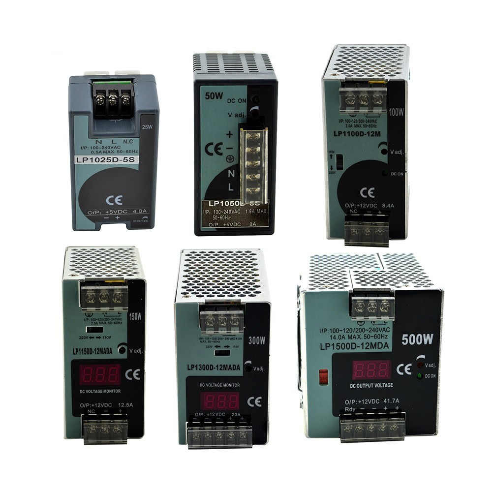 LP Series Din Rail single output switching power supply 25W 50W 100W 150W 300W 500W Digital Display 12/24V ac dc with Ce Approve