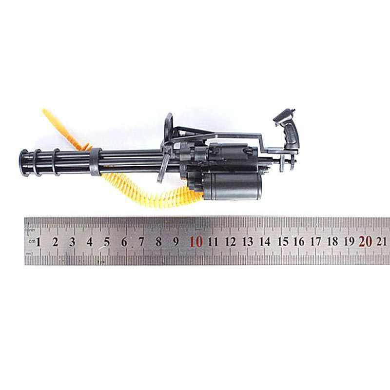 1:6 escala 12 polegada gatlin arma de montagem modelo figuras ação terminator t800 metralhadoras pesadas + bala cinto presente para crianças