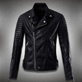 Punk Style leather jacket men oblique zipper jaqueta motoqueiro turn-down collar male motorcycle locomotive leather clothes #459