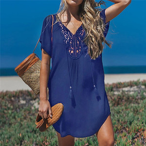 Image 4 - Fanbety  Plus size Tassels Beach Wear dress Women Swimsuit Cover Up Bathing  Summer Mini Dress Loose Solid Pareo Cover up dress