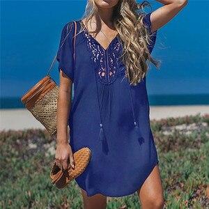 Image 4 - Fanbety בתוספת גודל גדילים חוף ללבוש שמלת נשים בגד ים לחפות הרחצה קיץ מיני שמלת Loose מוצק Pareo לחפות שמלה