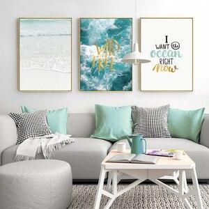 Image 3 - Nước Biển Đại Dương Tường Tranh Canvas Nghệ Cho Phòng Khách Bắc Âu Poster Chữ Trích Dẫn Trang Trí Treo Tường Hình Unframed