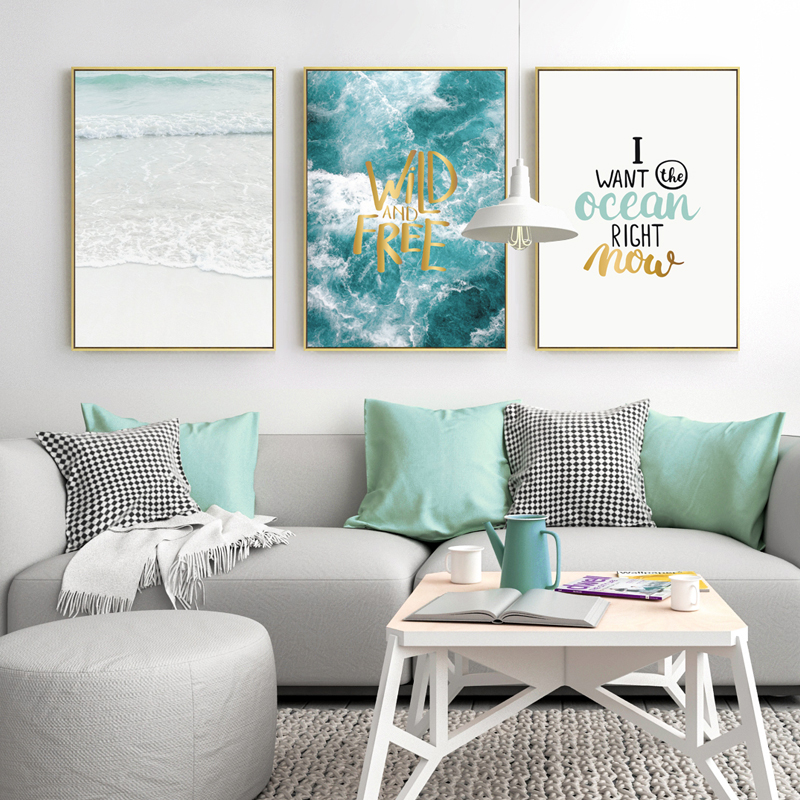 Image 3 - Seawater Ocean Wall Art Canvas Painting For Living Room Nordic Poster Letters Quotes Decoration Wall Pictures Unframed-in Painting & Calligraphy from Home & Garden