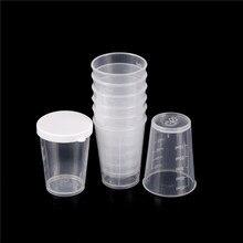 10 шт./компл. 50 мл Пластик Градуированный лаборатория Тесты мерная емкость чашки с Кепки Пластик мерные стаканчики для жидкости