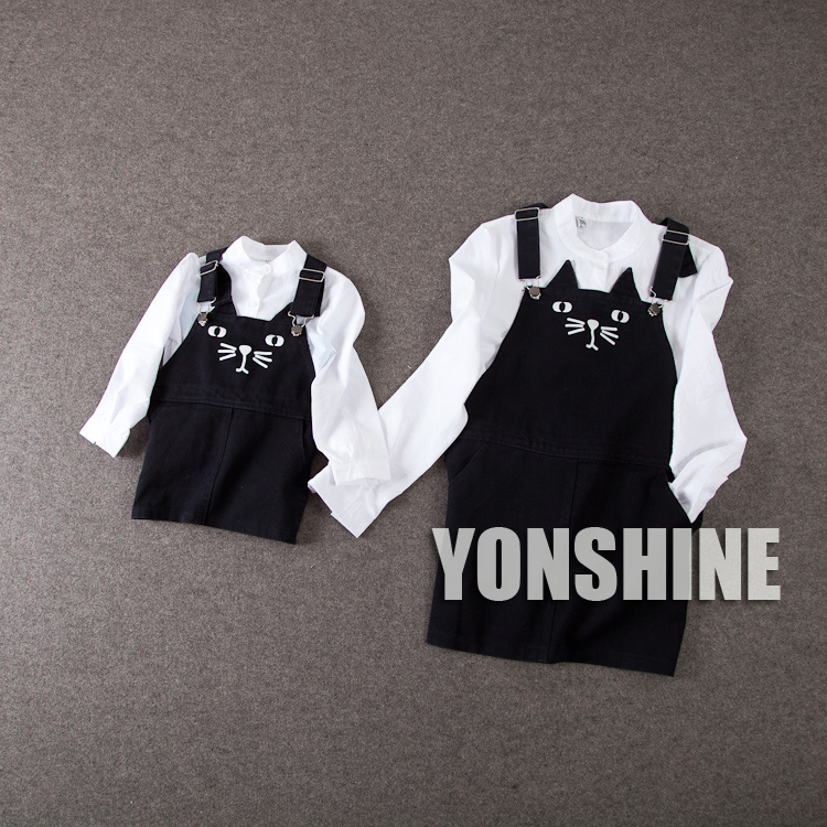 new 2015 autumn winter family outfits cat pattern Strap dress+blouse 2pcs family clothing sets fashion mother daughter dresses
