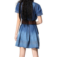 2017 New Vintage Ethnic Tropical Floral Embroidery Dresses Stand Collar Loose Denim Summer Style Casual Women's Elegant Dress