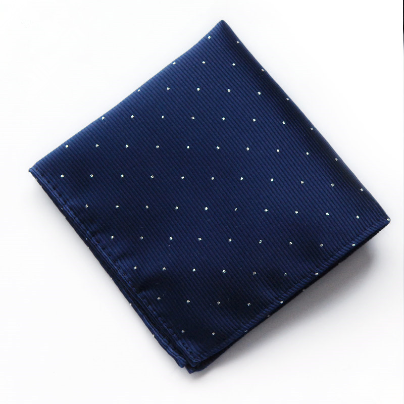 SCST Brand Designer 2017 New  Whote Dot Print Solid Blue Silk Men Pocket Square Mens Handkerchiefs CR057