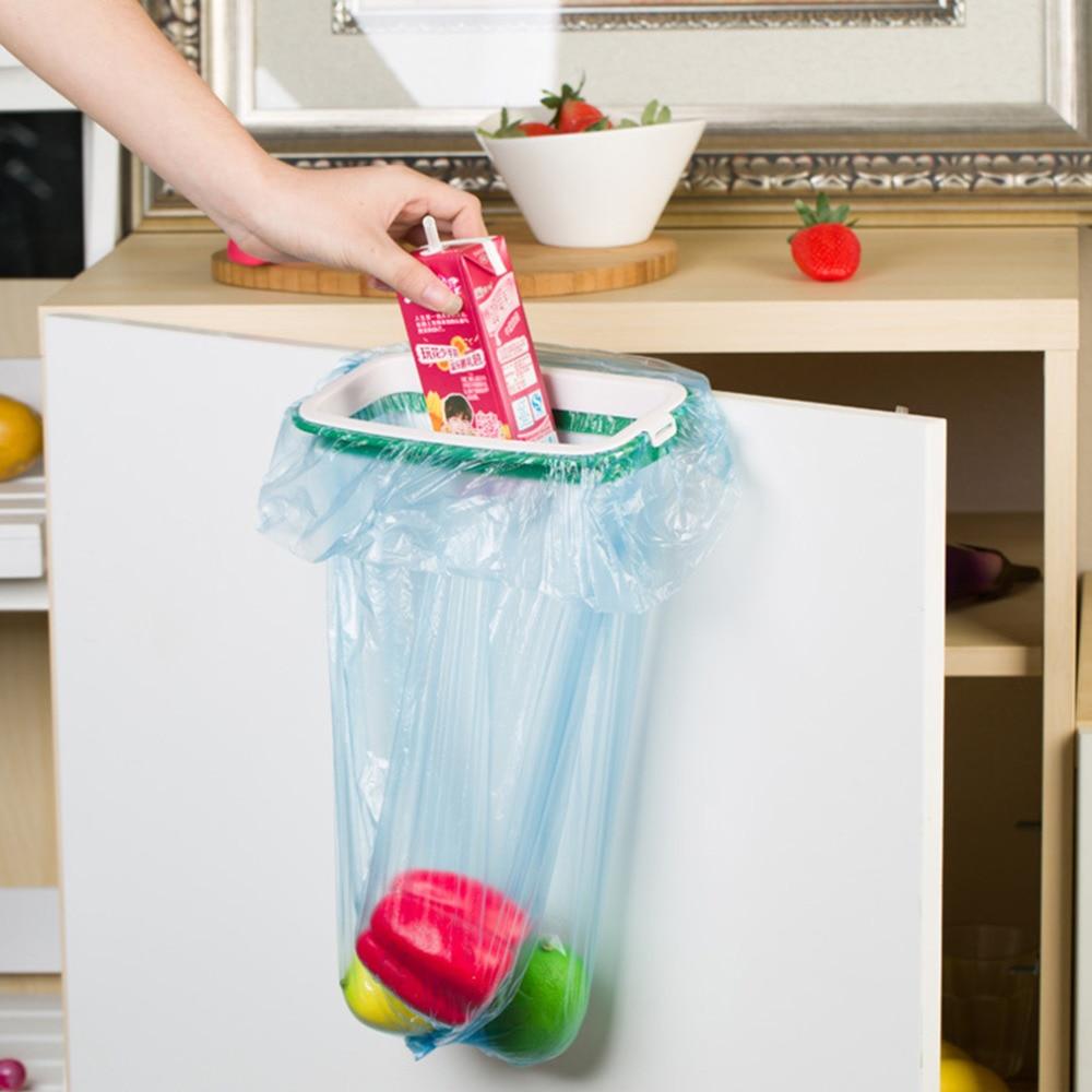Rubbish Bag Storage Rack Hanging Kitchen Cupboard Door Back Stand Trash Garbage Bags Storage Rack Bag Clip
