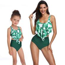 2pcs Leaf Print Bikini Set Sling Ruffle High Waist Swimsuit Beach Swimwear