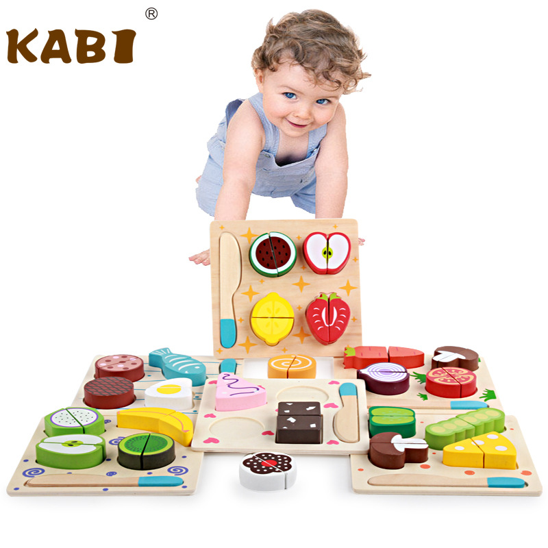 KABI Wooden Toys Blocks Cutting Fruit Vegetable Play Miniature Food Kids Montessori Educational Toys for Children Blocks Gift
