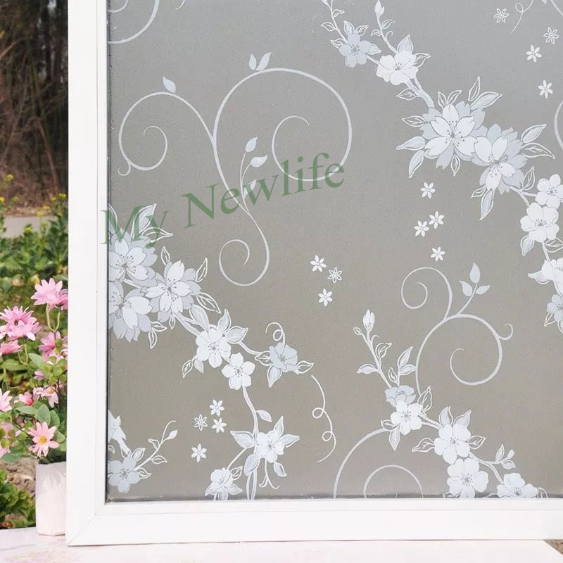 White flower Frosted Window Film Opaque Glass stickers Privacy self adhesive balcony Bedroom Home Decorative film 45 90 500cm in Decorative Films from Home Garden