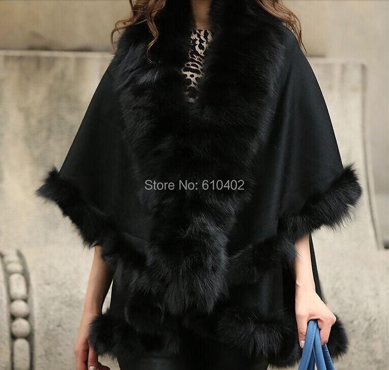 free shipping Genuine Fox Fur Real Cashmere Fox Fur Coat Cloak Poncho shawl cape Wraps Black