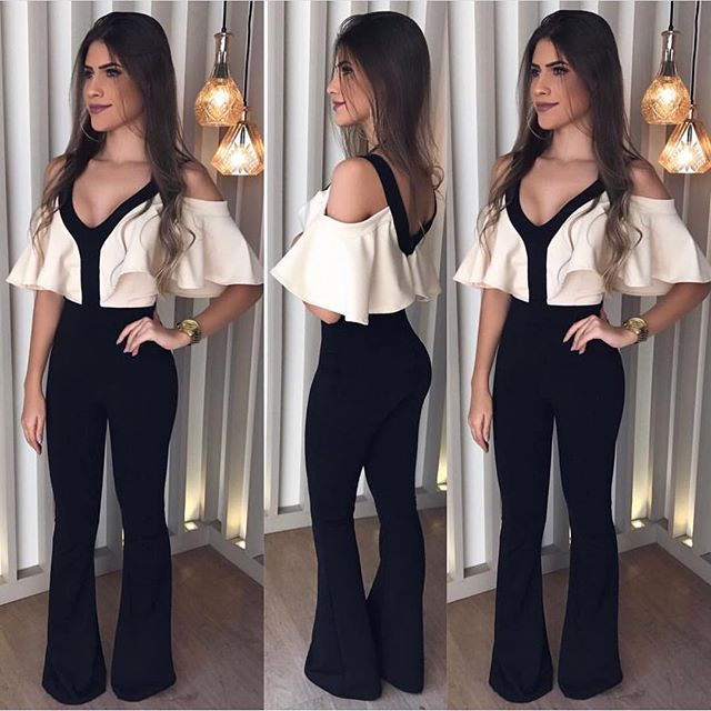 Women Patchwork Ruffles Sexy V-neck Backless Jumpsuit Casual Rompers For Female Women High Waist Full Pants Jumpsuits Women