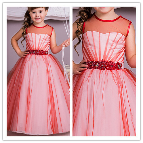 2017 new red white two tones tulle long ball gown colorful flower 2017 new red white two tones tulle long ball gown colorful flower girl dresses bridal party dress junior bridesmaid dresses in flower girl dresses from mightylinksfo