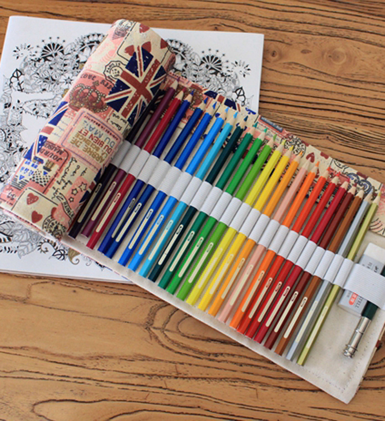 2017 Real Canvas Type Curtain Roll Up Bag Pen Pencil Case School Estuche Boxes, Stationery Estojo Portable Pl Gifts Of England good quality 36 48 72 holes canvas pencil case roll up sketch painting pen box school office pencil stationery bag b066