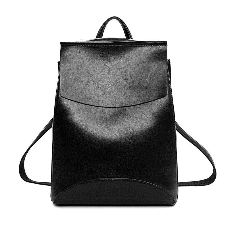 Women Vintage Oil Leather backpack teenage girl school bags Feminine Casual style