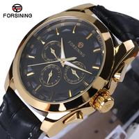 Forsining 2017 Retro Fashion Designer Three Dial Decoration Genuine Leather Golden Men Luxury Brand Automatic Mechanical