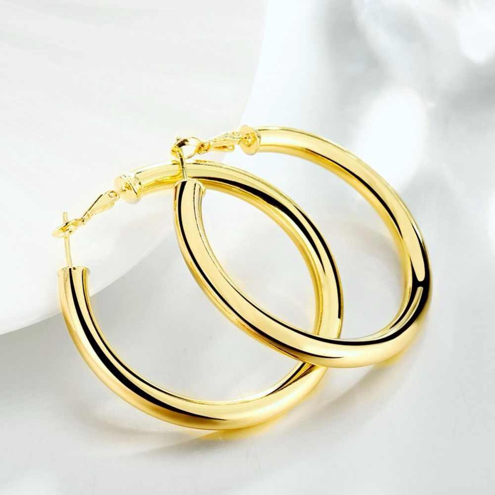 Dày 5mm Đường Kính 50 MM Rỗng Vòng Tròn Lớn màu sắc vàng đôi Khuyên tai Vòng bạc Nguyên Chất 925 mạ de Prata brinco thời trang Mới Trang Sức