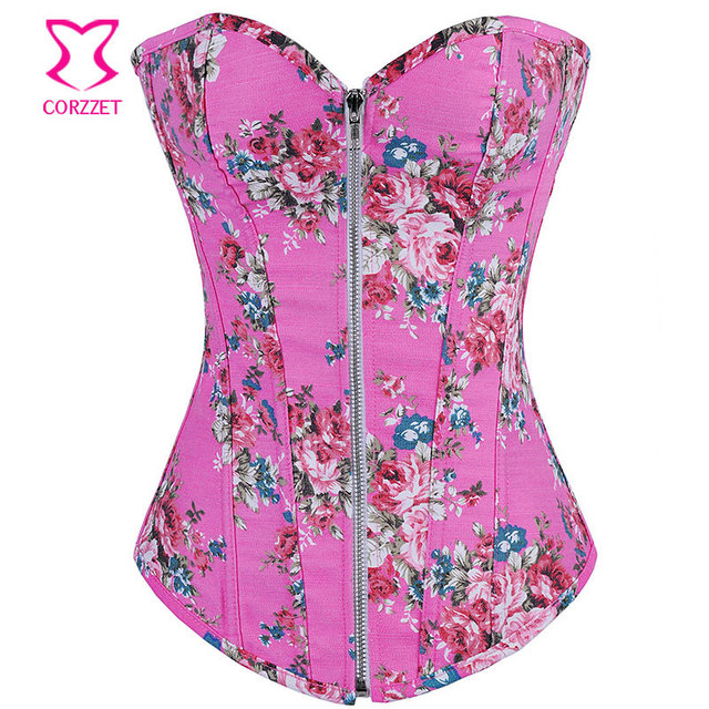 0a742062b4 Hot Selling Overbust Boned Bustiers Floral Print Women Sexy Lingerie Top Waist  Cincher Corsets Jean Basque Sexy Costume