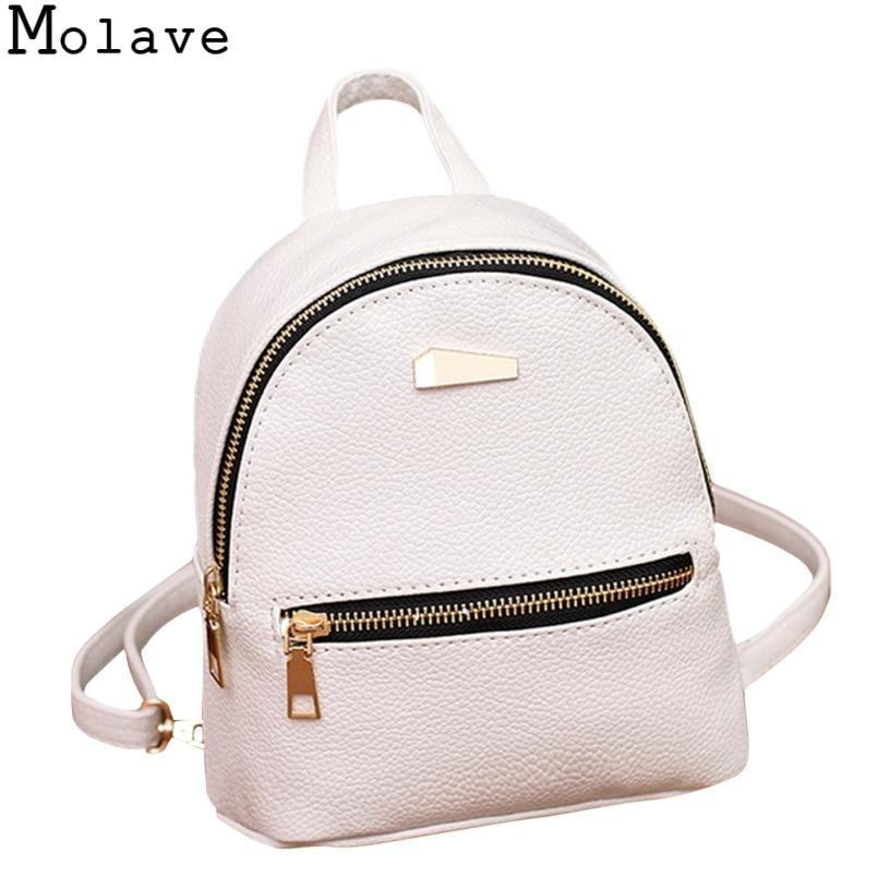 434398465f MOLAVE 2017 Women Leather Backpack School Rucksack College Shoulder Satchel Travel  Bag Mochila Feminina school bags Oct26-in Backpacks from Luggage   Bags ...